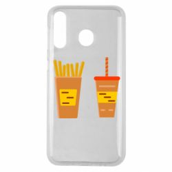 Чехол для Samsung M30 French fries and cocktail flat vector