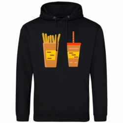 Мужская толстовка French fries and cocktail flat vector