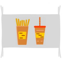 Флаг French fries and cocktail flat vector