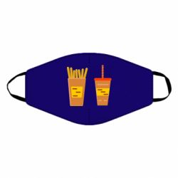 Маска для лица French fries and cocktail flat vector
