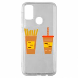 Чехол для Samsung M30s French fries and cocktail flat vector