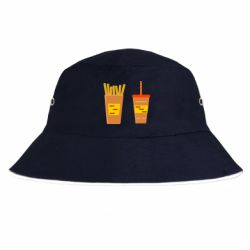 Панама French fries and cocktail flat vector