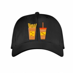 Детская кепка French fries and cocktail flat vector