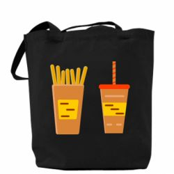 Сумка French fries and cocktail flat vector