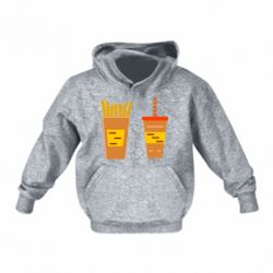 Детская толстовка French fries and cocktail flat vector