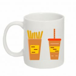 Кружка 320ml French fries and cocktail flat vector
