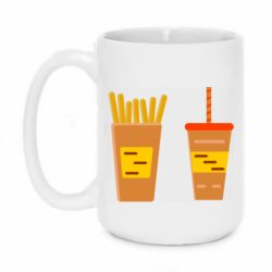 Кружка 420ml French fries and cocktail flat vector
