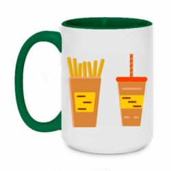 Кружка двухцветная 420ml French fries and cocktail flat vector