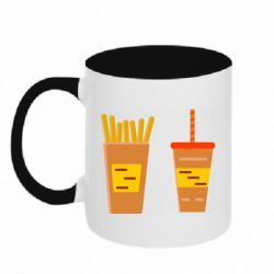 Кружка двухцветная 320ml French fries and cocktail flat vector