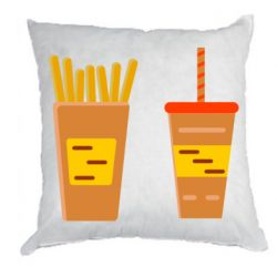 Подушка French fries and cocktail flat vector