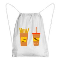 Рюкзак-мешок French fries and cocktail flat vector