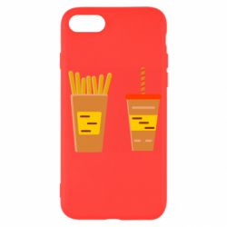 Чехол для iPhone 7 French fries and cocktail flat vector