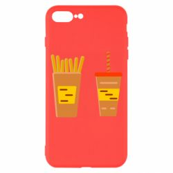 Чехол для iPhone 7 Plus French fries and cocktail flat vector