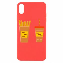 Чехол для iPhone X/Xs French fries and cocktail flat vector