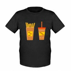 Детская футболка French fries and cocktail flat vector