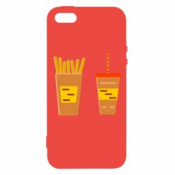 Чехол для iPhone5/5S/SE French fries and cocktail flat vector