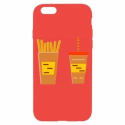 Чехол для iPhone 6/6S French fries and cocktail flat vector