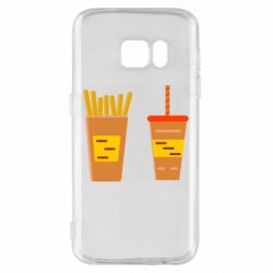 Чехол для Samsung S7 French fries and cocktail flat vector