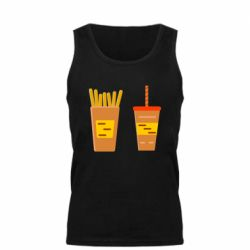 Мужская майка French fries and cocktail flat vector