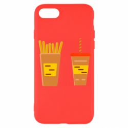 Чехол для iPhone 8 French fries and cocktail flat vector