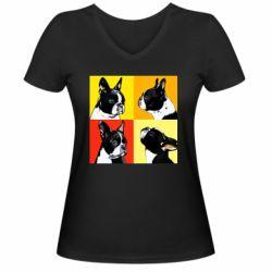 Женская футболка с V-образным вырезом Френчи - FatLine