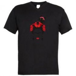 Мужская футболка  с V-образным вырезом Frida Kalo and cat