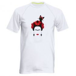 Мужская спортивная футболка Frida Kalo and cat