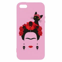 Чохол для iphone 5/5S/SE Frida Kalo and cat