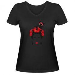 Женская футболка с V-образным вырезом Frida Kalo and cat