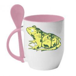 Кружка з керамічною ложкою Froggy Night
