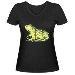 Жіноча футболка з V-подібним вирізом Froggy Night