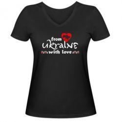 Женская футболка с V-образным вырезом From Ukraine (вишиванка) - FatLine