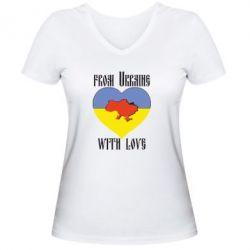 Женская футболка с V-образным вырезом From Ukraine with Love - FatLine