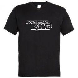Мужская футболка  с V-образным вырезом Full time 4wd - FatLine