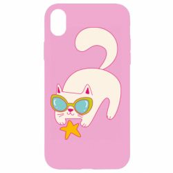 Чехол для iPhone XR Funny cat with star