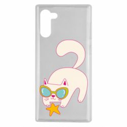 Чехол для Samsung Note 10 Funny cat with star