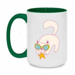 Кружка двоколірна 420ml Funny cat with star