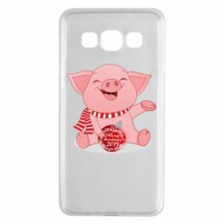 Чохол для Samsung A3 2015 Funny pig with a Christmas toy