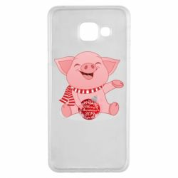 Чохол для Samsung A3 2016 Funny pig with a Christmas toy