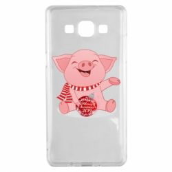 Чохол для Samsung A5 2015 Funny pig with a Christmas toy