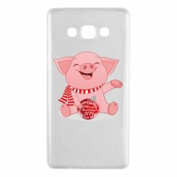 Чохол для Samsung A7 2015 Funny pig with a Christmas toy