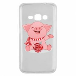Чохол для Samsung J1 2016 Funny pig with a Christmas toy