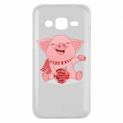 Чохол для Samsung J2 2015 Funny pig with a Christmas toy