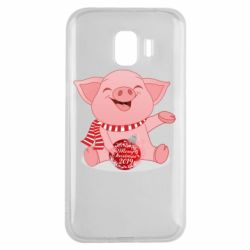 Чохол для Samsung J2 2018 Funny pig with a Christmas toy
