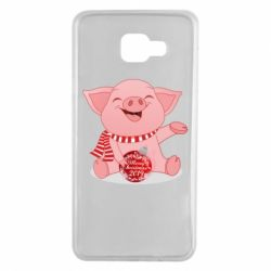 Чохол для Samsung A7 2016 Funny pig with a Christmas toy
