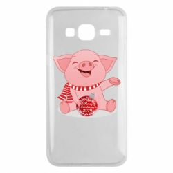 Чохол для Samsung J3 2016 Funny pig with a Christmas toy