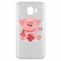 Чохол для Samsung J4 Funny pig with a Christmas toy