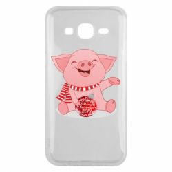 Чохол для Samsung J5 2015 Funny pig with a Christmas toy