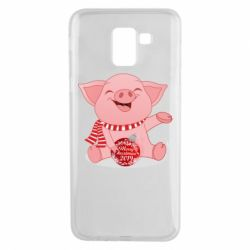 Чохол для Samsung J6 Funny pig with a Christmas toy