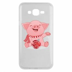 Чохол для Samsung J7 2015 Funny pig with a Christmas toy